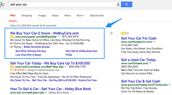 Google ads examples: online advertising