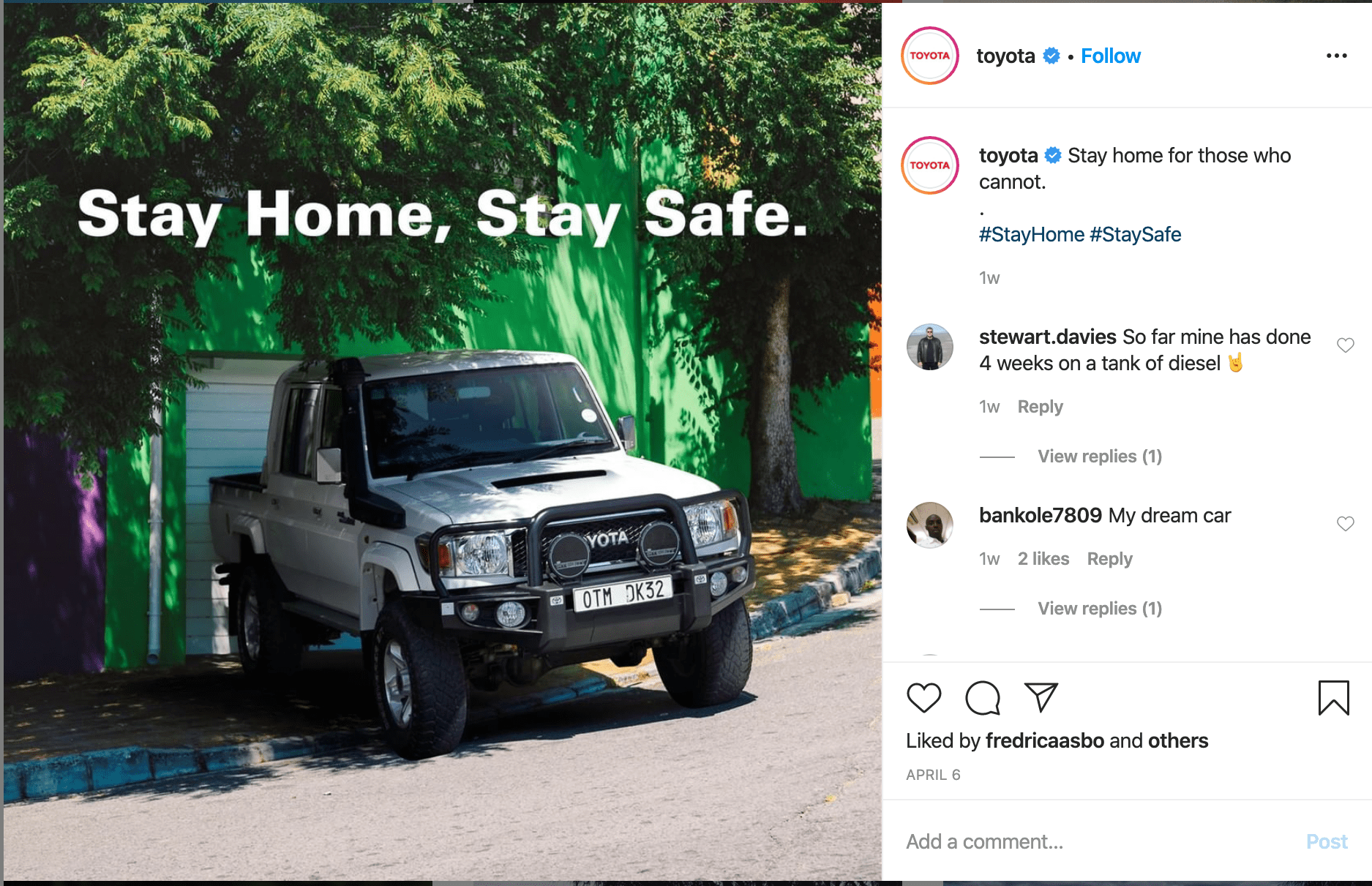 Toyota Instagram Post