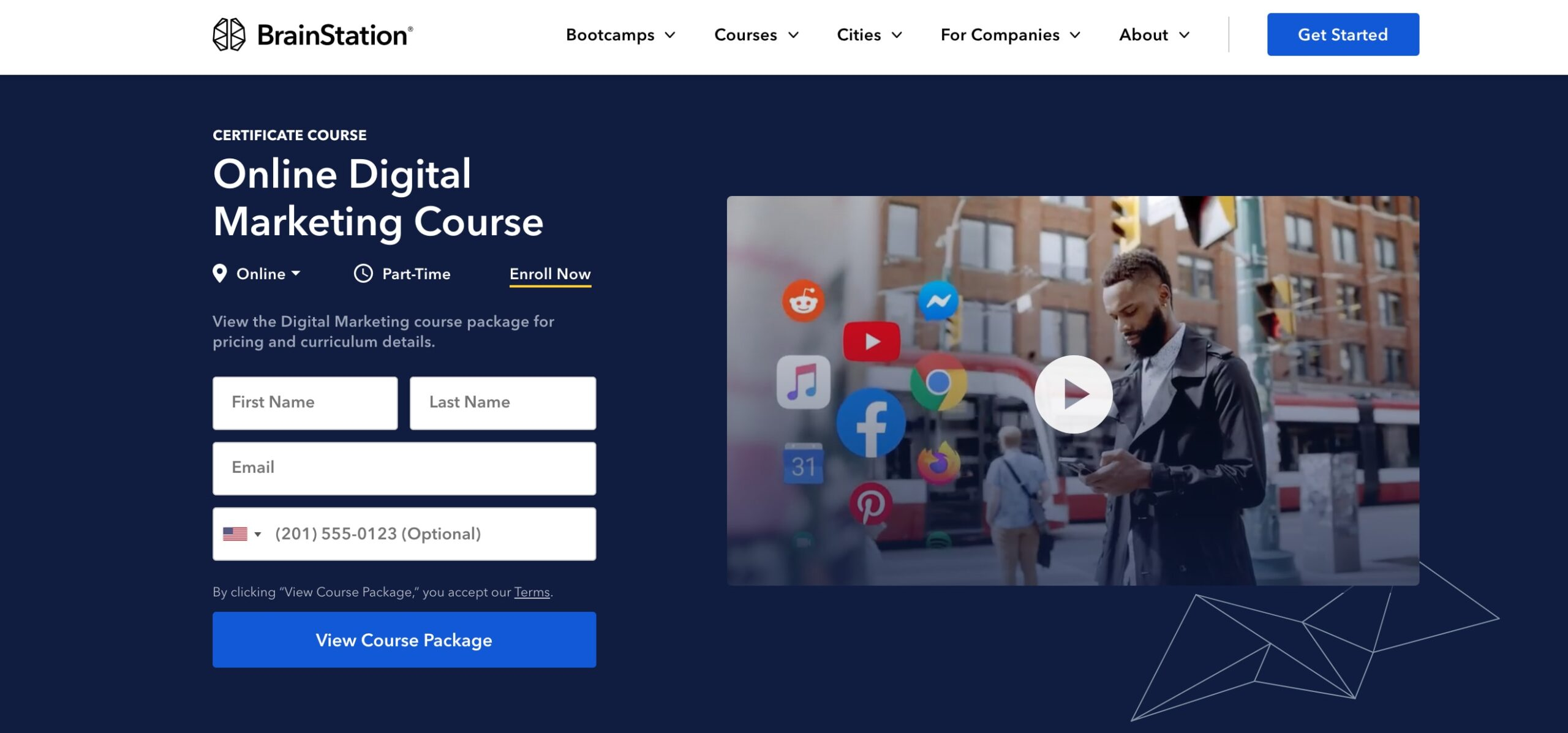 BrainStation Digital Marketing Certificate Course landing page
