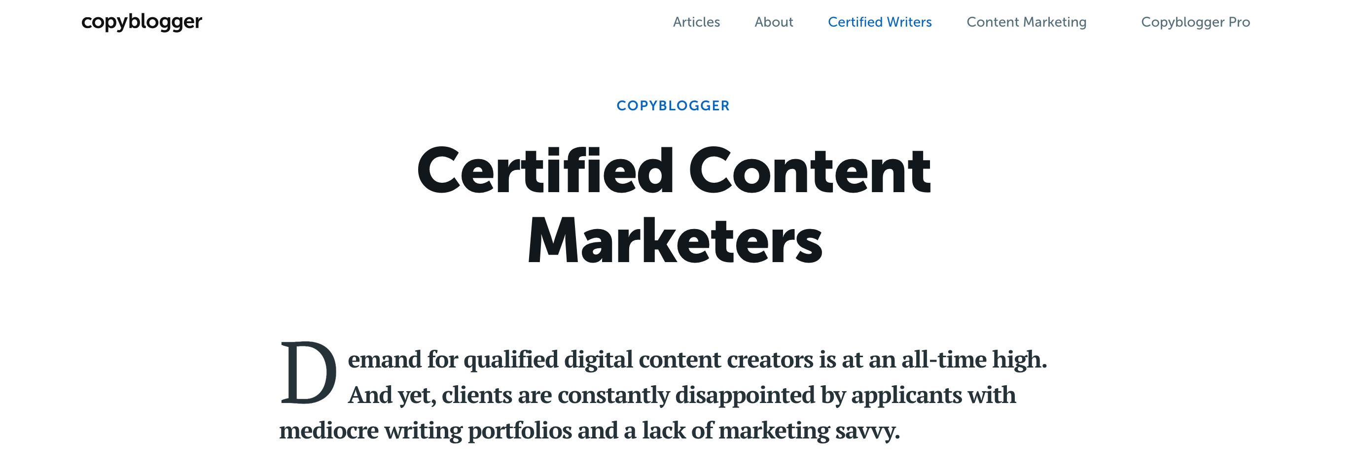 Copyblogger Certified Content marketer Certification