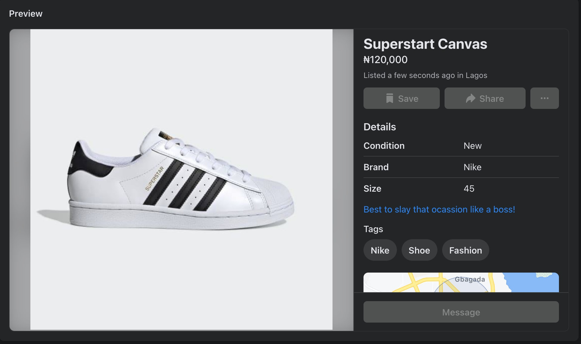 Product listing preview