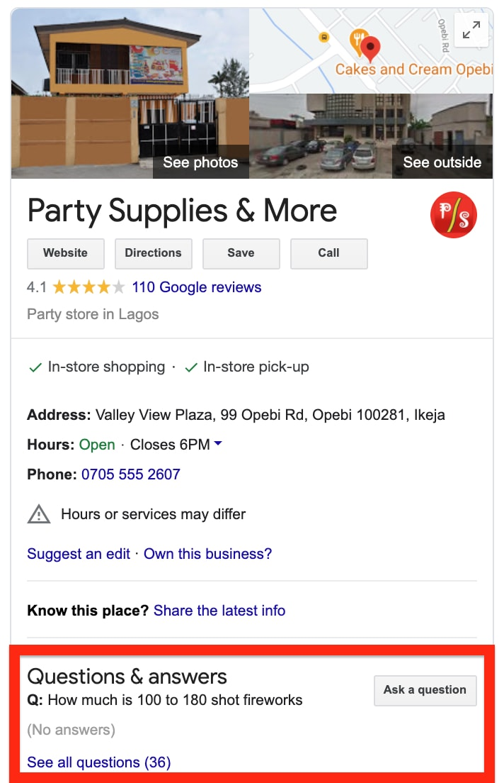 Party Supplies Google My Business
