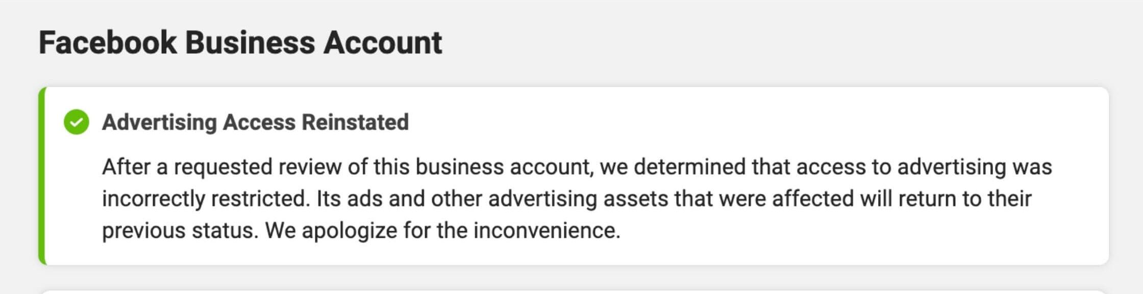 Facebook disabled ad account resolved