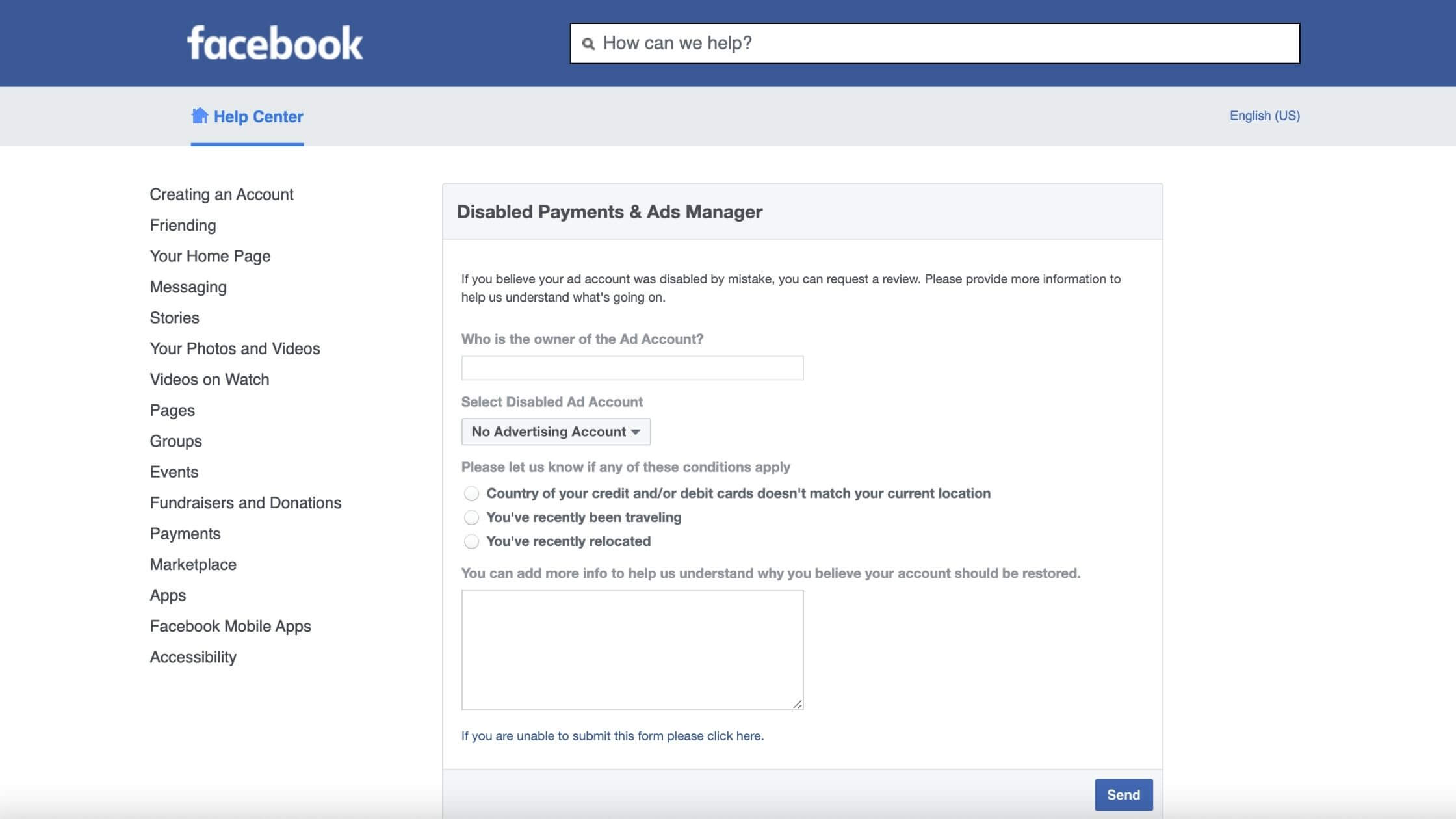 Facebook disabled payment